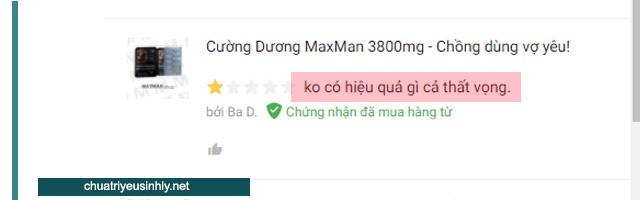 Maxman vẫn có đánh giá là không có công hiệu