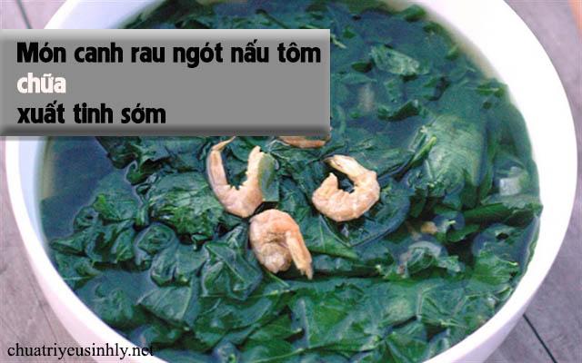 Tôm khô nấu rau ngót chữa xuất tinh sớm
