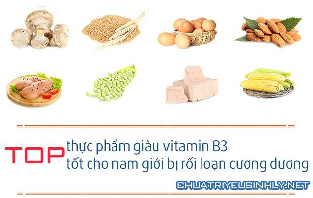 Các thực phẩm giàu vitamin B3 giúp hỗ trợ điều trị rối loạn cương dương
