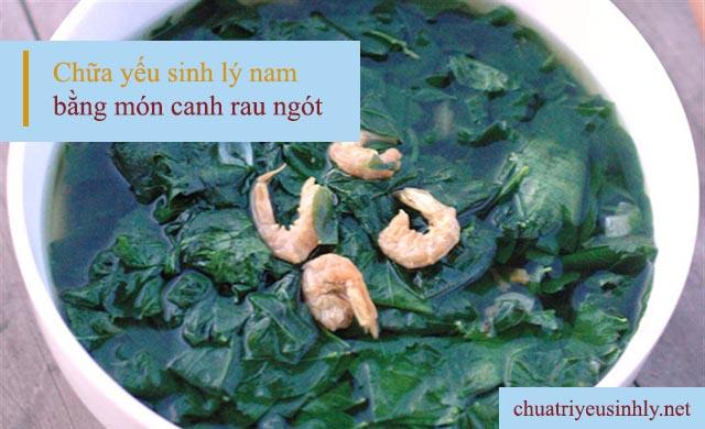 Canh rau ngót nấu tôm là một trong những món ăn chữa yếu sinh lý nam