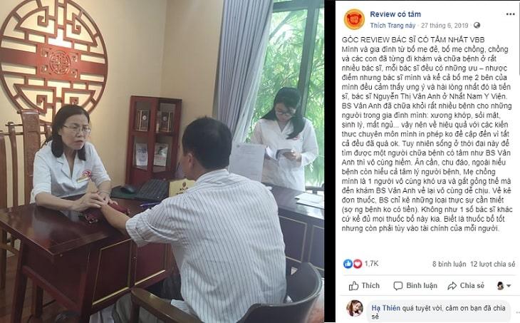 Khách hàng chia sẻ cảm nhận về Bác sĩ Nguyễn Thị Vân Anh