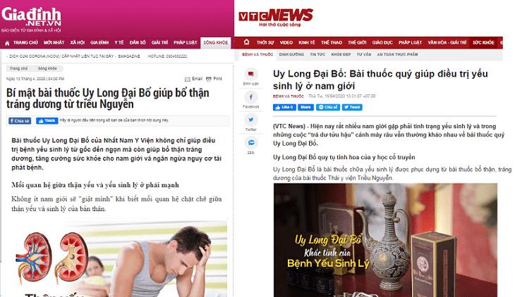 Uy Long Đại Bổ xuất hiện trên nhiều trang báo uy tín về sức khỏe